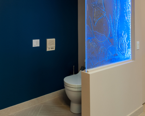 Toilet Alcove with Multi-Color Lit Glass