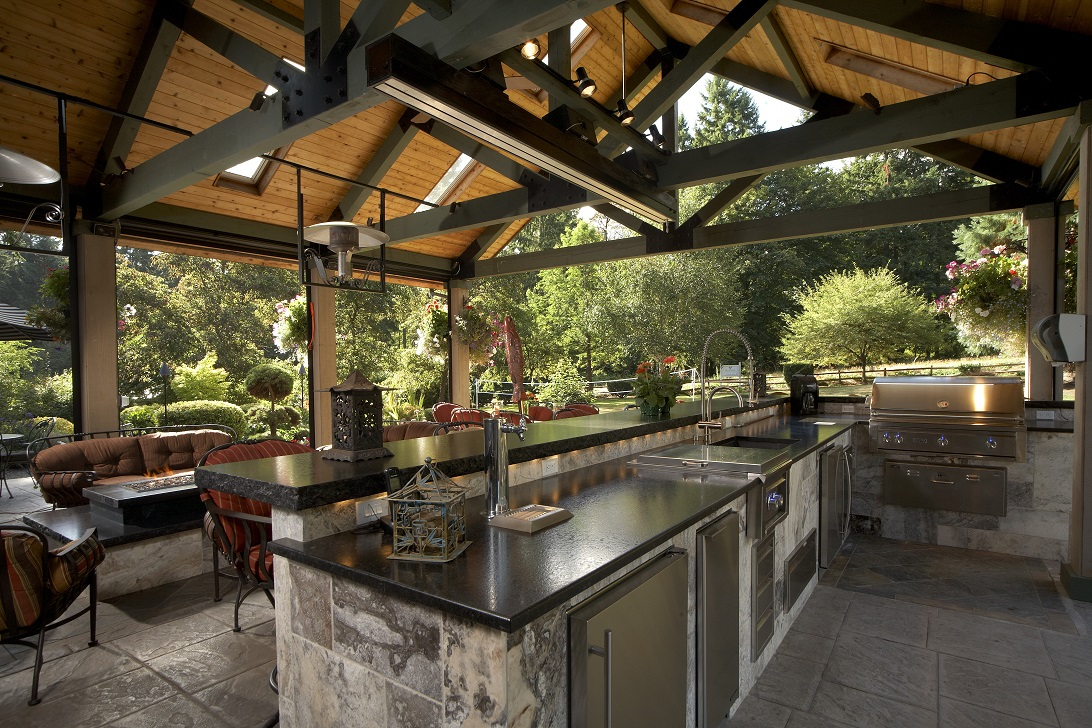 Large covered outdoor living space remodel mcadams Outdoor living areas images