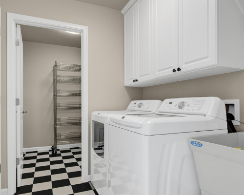 A clean and retro laundry room