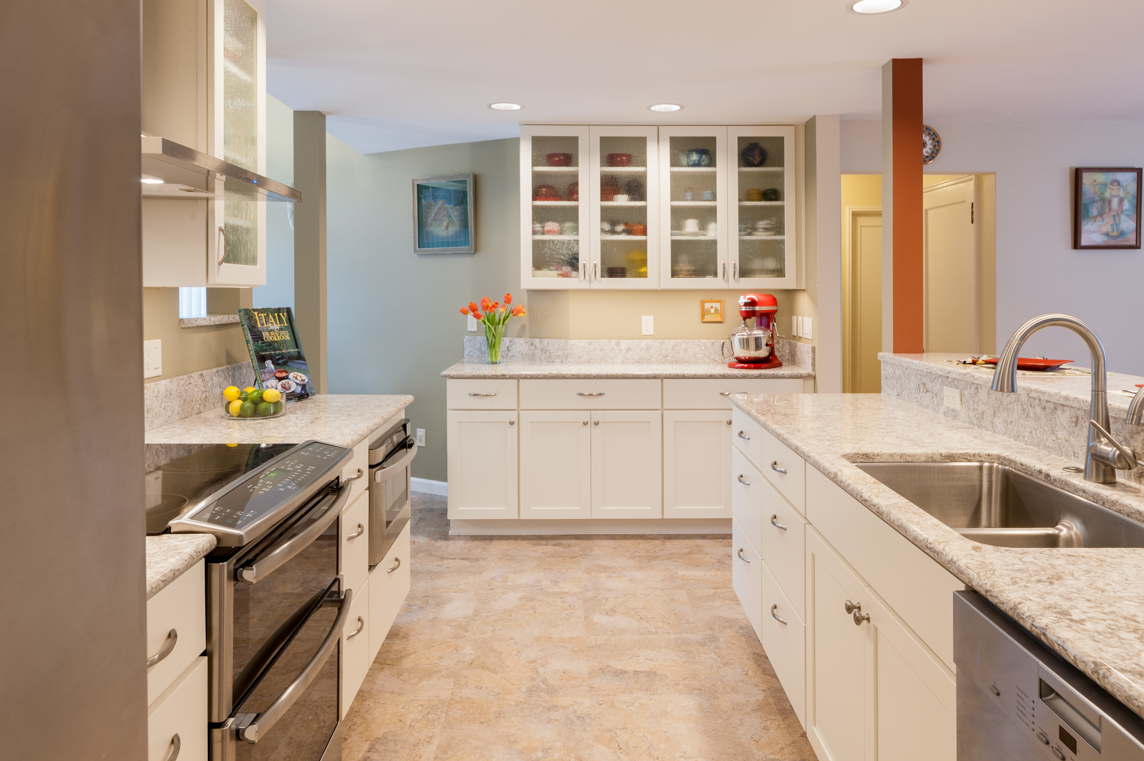 Bright Open Galley Kitchen Mcadams Remodeling