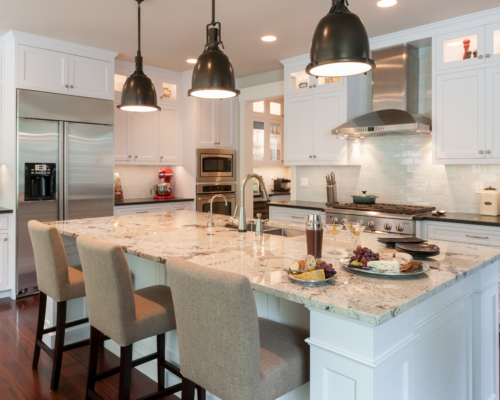 The beautiful finished kitchen with large island