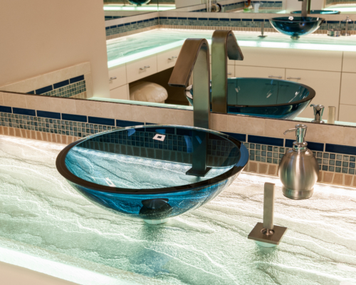 Vessel Sink with Underlit Glass Countertop