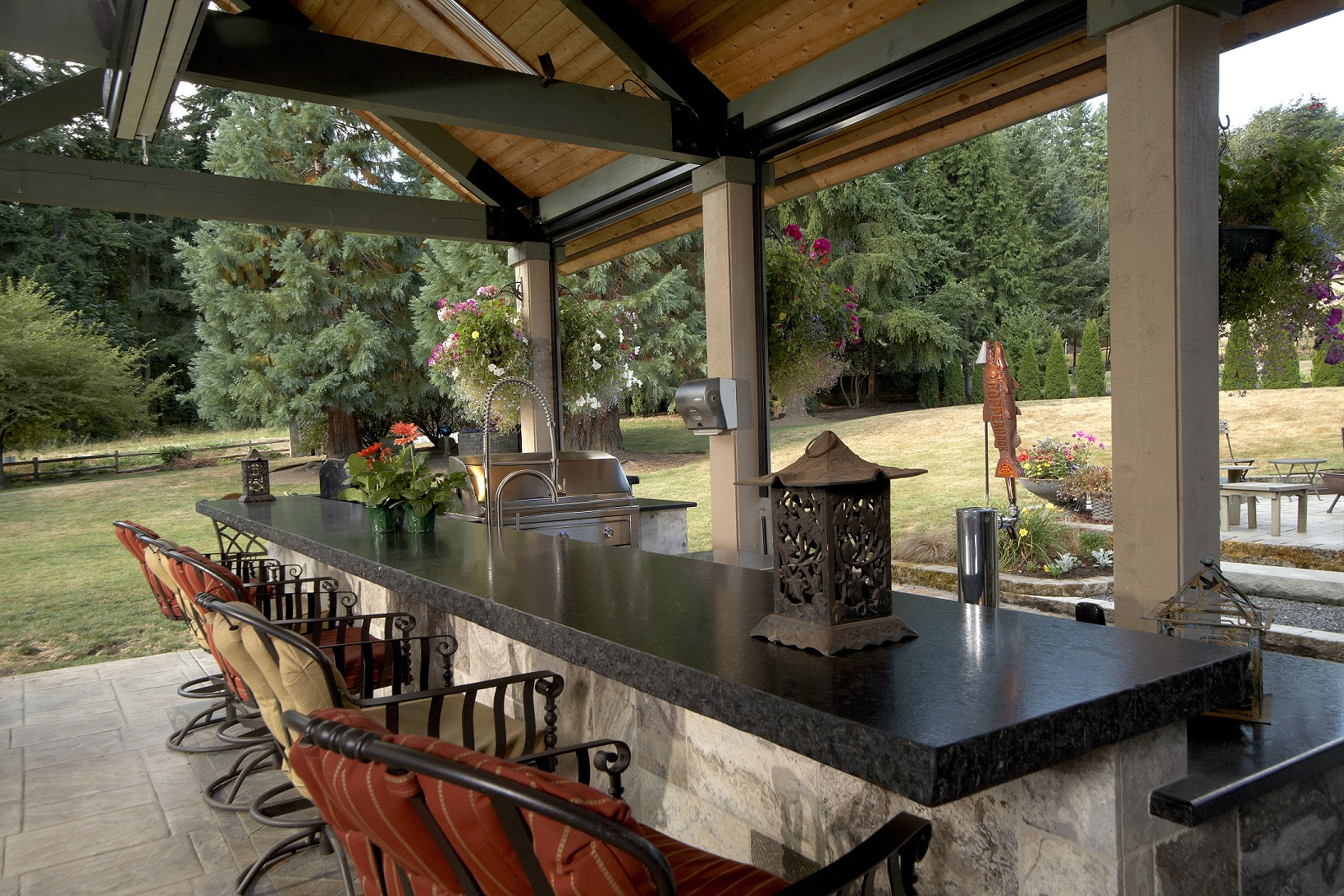 Large covered outdoor living space remodel mcadams - Outdoor living space design ...
