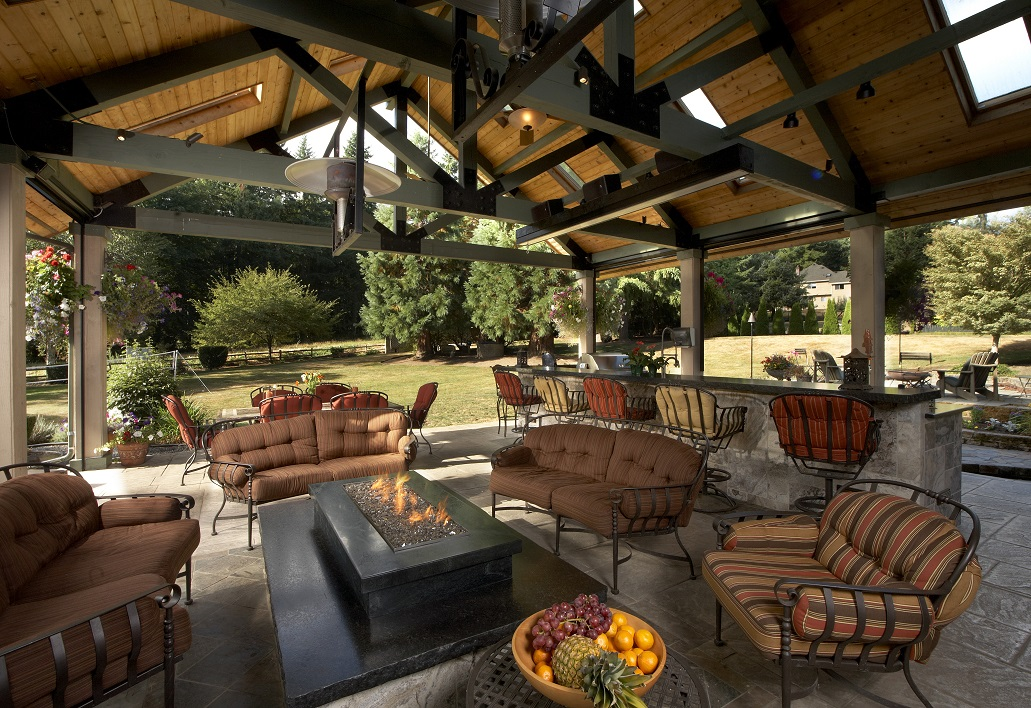 Large covered outdoor living space remodel mcadams for Outdoor patio space ideas