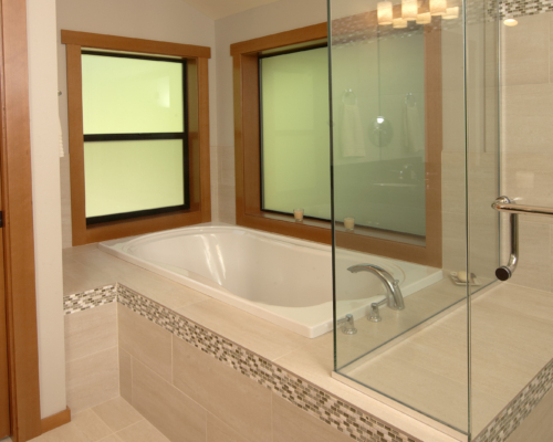 The new shower and soaking tub
