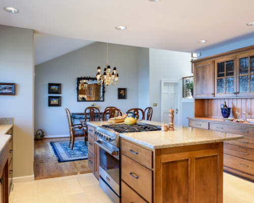 The new kitchen and adjacent dining room