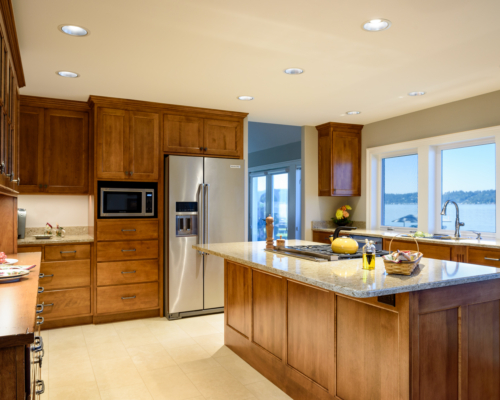 The newly remodeled kitchen