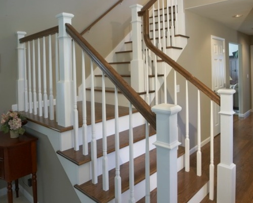 The newly remodeled staircase