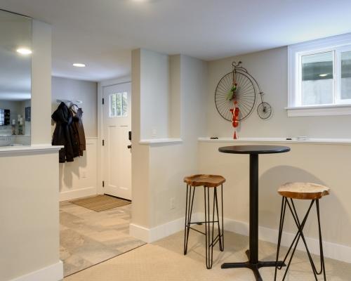 The basement entry door post-remodel