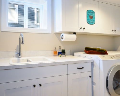 The newly created laundry room