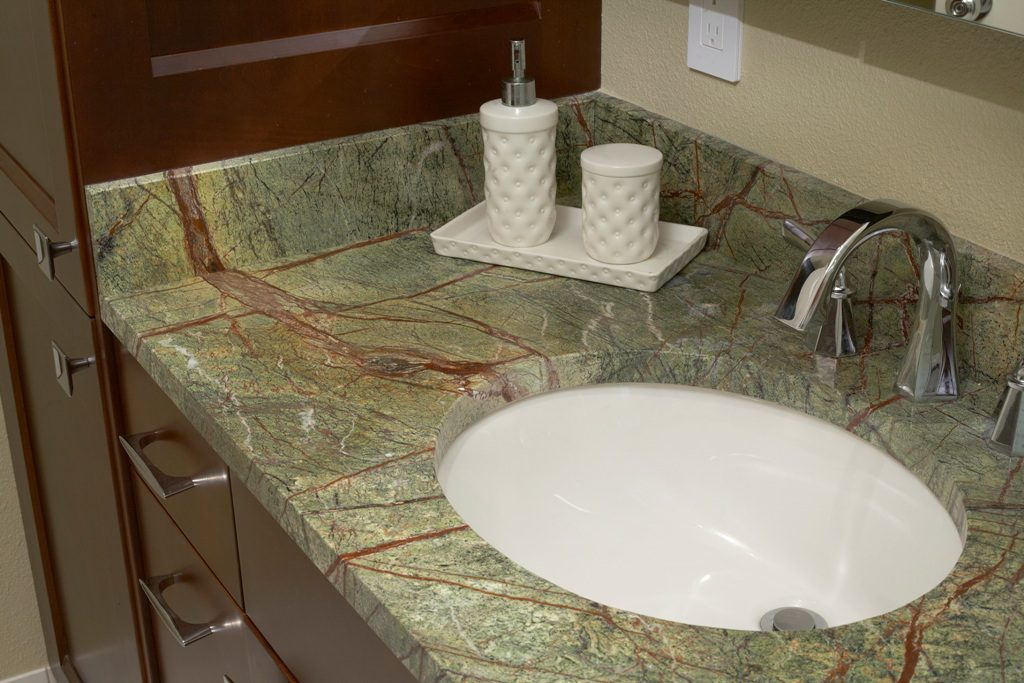 Beautiful marble countertop in Rainforest Green