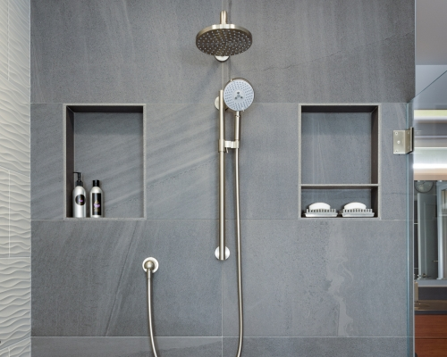 The newly remodeled shower