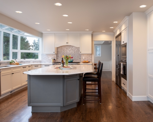 Remodeled kitchen open and airy