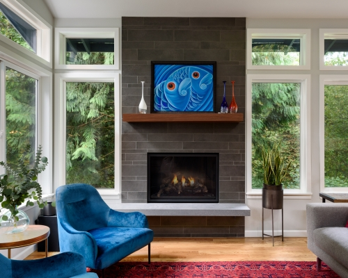 The beautifully remodeled family room.