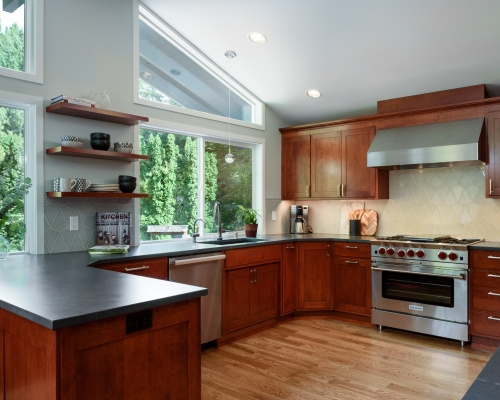 The kitchen remodel provided more storage space.